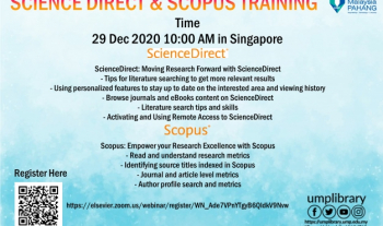 User Education Programme – UMP Science Direct and Scopus Training (29th December 2020)